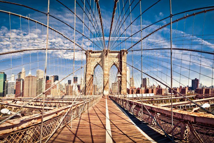 Panoramic shot of Brooklyn bridge