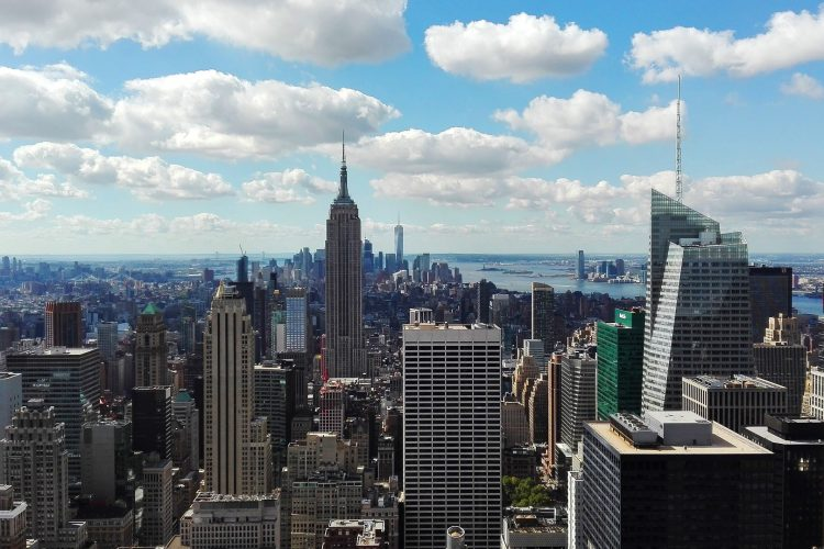 The view of the empire state building from the top of the rock in new york city